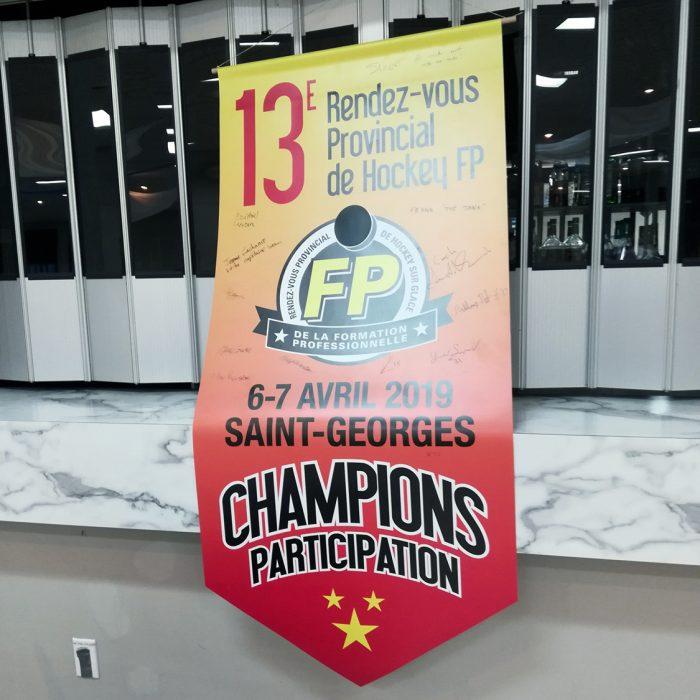 3 équipes de la FP des navigateurs s'illustrent en hockey scolaire - Champions : Centre de formation en montage de lignes - banniere