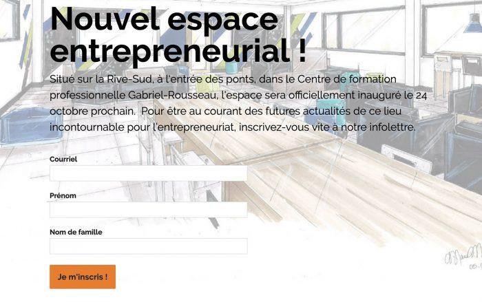 Espace entrepreneurial : inscrivez-vous à l'infolettre ! Capture