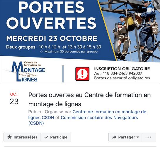 Portes ouvertes octobre 2019 du Centre de formation en montage de lignes - Évènement Facebook