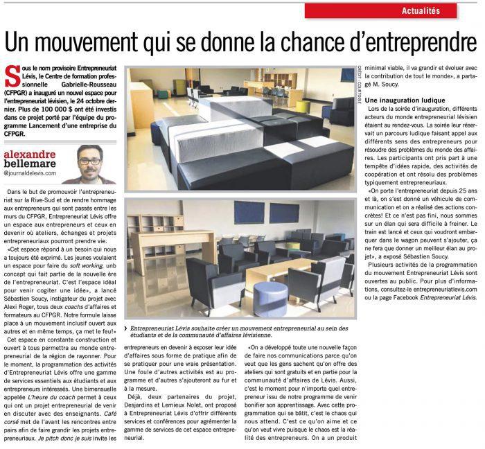 Entrepreneuriat Lévis : des outils pour entreprendre au Centre de formation professionnelle Gabriel-Rousseau