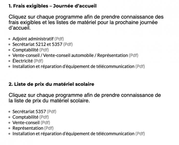Rentrée d'août 2020 au Centre de formation professionnelle Gabriel-Rousseau : frais et matériel scolaire