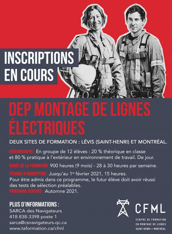 Inscriptions DEP Montage de lignes électriques Fiche Info 2021